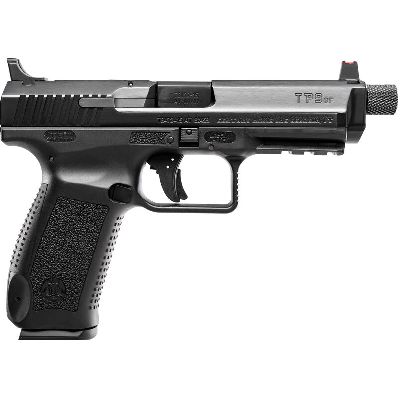 """Century Arms TP9SFT Semi Auto Handgun 9mm Luger 4.98"""" Threaded Barrel 18 Rounds Warren Suppressor Sights with FO Front Sight Polymer Frame Black"""