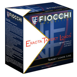 """Fiocchi Exacta Target Line .410 Bore Ammunition 2-1/2"""" #8 Lead Shot 1/2oz 1250fps"""