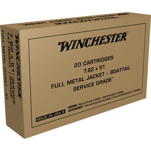 Winchester Service Grade 7.62x51mm NATO Ammunition 20 Rounds 147 Grain FMJ BT 2750fps
