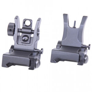 Guntec AR-15 Thin Profile Back Up Iron Sight Set Same Plane Height Aluminum and Steel Black