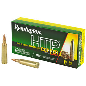 Remington HTP Copper .22-250 Remington Ammunition 20 Rounds 50 Grain Barnes TSX Boat Tail Lead Free 3830fps