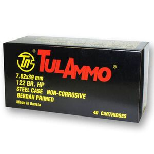 TulAmmo 7.62x39mm Ammuntion 40 Rounds 122 Grain Zinc JHP Steel Cased 2330 fps