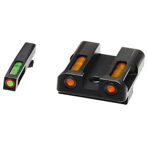 HiViz Litewave H3 Tritium/Litepipe fits GLOCK 9mm/.40S&W/.357SIG Models Green Front Sight with Orange Front Ring/Orange Rear Sight Steel Housing Matte Black