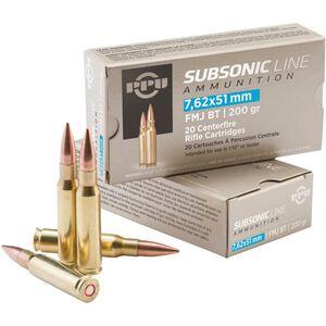 Prvi Partizan 7.62x51 NATO Ammunition 20 Rounds Subsonic FMJBT 200 Grains PPS762