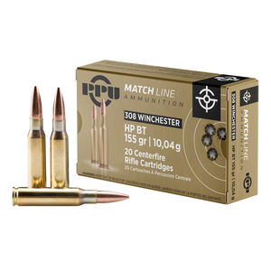 Prvi Partizan PPU Match .308 Win Ammunition 20 Rounds 155gr HPBT 2789fps