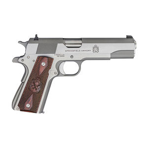 """Springfield Armory 1911 Mil-Spec Full Size Government Semi Auto Pistol .45 ACP 5"""" Barrel 7 Rounds Wood Grips Stainless Finish"""