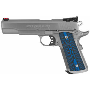 """Colt 1911 Gold Cup Trophy .38 Super Semi Auto Pistol 5"""" National Match Barrel 9 Rounds Fiber Optic Front Sight/Bomar Style Rear Sight Colt G10 Grips Brushed Stainless Steel"""
