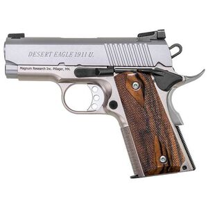 "Magnum Research 1911 Undercover Semi Auto Pistol .45 ACP 3"" Barrel 6 Rounds Aluminum Frame Wood Grips Stainless Steel Slide DE1911USS"