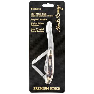 "Schrade Uncle Henry Premium Stock 3-Blade Folding Knife 2.8"" Plain Clip Point Steel Blade Staglon Handle"