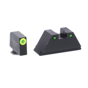 Ameriglo Tall Suppressor Sight Set for GLOCK Green Tritium Front Dot with Black Outline and Flat Black Rear