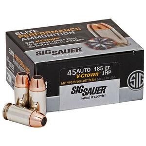 SIG Sauer Elite Performance .45 ACP Ammunition 20 Rounds 185 Grain Elite V-Crown 995fps