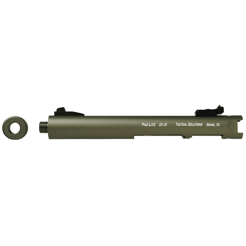 """Tactical Solutions Pac-Lite 4.5"""" Threaded Barrel .22 Long Rifle Ruger 22/45 and Ruger Mark Series Pistols OD Green Finish"""