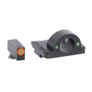 AmeriGlo Ghost Ring Sight Sets Fits GLOCK 17/19/26 Gen 1-4 Green Tritium Orange Outline Front Sight Steel Housing Matte Black