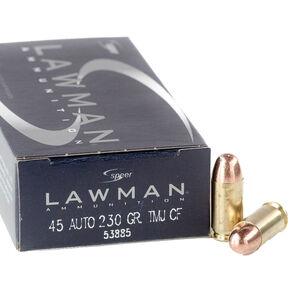 Speer Lawman Clean-Fire .45 ACP Ammuntion 230 Grain Total Metal Jacket 845 fps