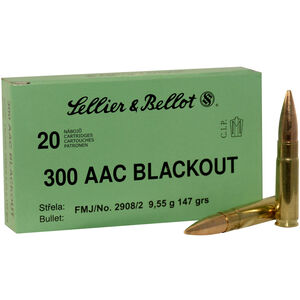 Sellier & Bellot .300 Blackout Ammunition 20 Rounds FMJ 147 Grains SB300BLKB