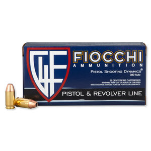 FIOCCHI .380 ACP Ammunition 50 Rounds JHP 90 Grains 380APHP
