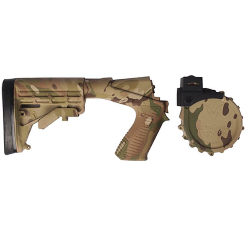Adaptive Tactical Venom Conversion Kit for Mossberg 590 with 10 Round Drum Magazine Raptor Forend M4 Style Stock Multi-Cam Finish 04923