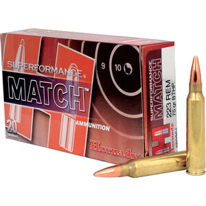 Hornady Superformance Match .223 Remington Ammunition 20 Rounds BTHP 75 Grains 80264