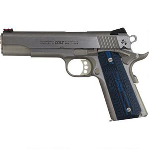 "Colt Competition 1911 Series 70 Government Model Semi Auto Pistol 9mm Luger 5"" Barrel 9 Rounds Fiber Front Sight Novak Rear Sight G10 Grips Brushed Stainless Finish"