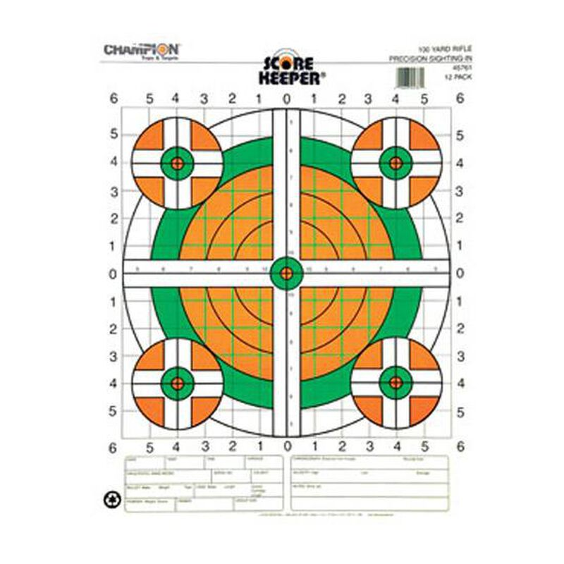 Champion Scorekeeper 100 Yard Rifle Sight In Paper Target Orange/Green Bulls 12 Pack 45761