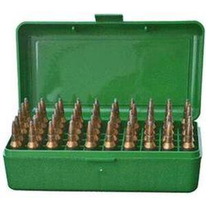 MTM Case-Gard R-50 Series 50 Rounds Large Diameter Medium Rifle Ammunition Box Polypropylene Green RMLD-50-10