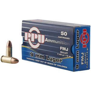 Prvi Partizan PPU 9mm Luger Ammunition 50 Rounds 115 Grain FMJ 1145 fps