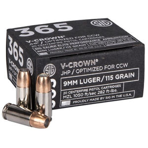 SIG Sauer 365 Elite Performance 9mm Luger Ammunition 20 Rounds 115 Grain V-Crown Jacketed Hollow Point 1050fps