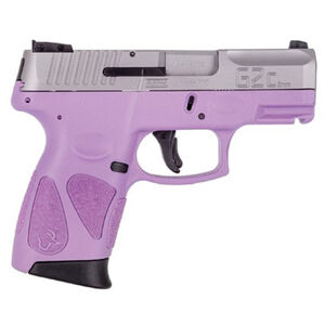 "Taurus PT111 G2C Semi Auto Pistol 9mm Luger 3.2"" Barrel 12 Rounds 3 Dot Sights Matte Stainless Steel Slide/Polymer Frame Light Purple Finish"