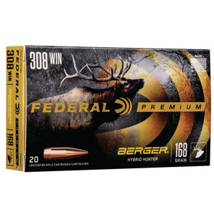 Federal Premium Berger Hybrid Hunter .308 Winchester Ammunition 20 Rounds 168 Grain Berger Hybrid 2800fps