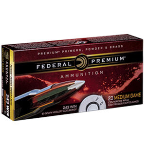 Federal Premium Nosler .243 Winchester Ammunition 20 Rounds 90 Grain Nosler Accubond 3000fps