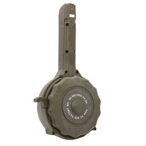Iver Johnson 50 Round Drum Magazine Fits GLOCK 17/19/26/34 9mm Luger Double Stacked Models Polymer Construction Olive Drab Green