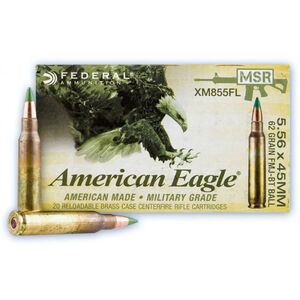 Federal American Eagle 5.56 NATO Ammunition 20 Rounds 62 Grain SS109 LAP Full Metal Jacket Boat Tail Green Tip Projectile 3025fps