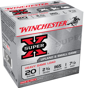 """Winchester Super X Heavy Game Load 20 Gauge Ammunition 100 Round Value Pack 2-3/4"""" #7.5 Lead 1 Ounce 1165 fps"""