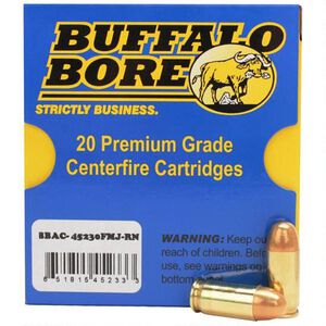 Buffalo Bore .45 ACP 20 Rounds, FMJ RN,  230 Grain
