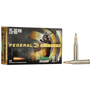 Federal Premium Sierra GameKing .25-06 Remington Ammunition 20 Rounds 117 Grain Sierra GameKing Boat Tail Soft Point 3030fps
