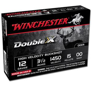 "Winchester Double X 12 Gauge Ammunition 5 Rounds 3-1/2"" Shell 00 Buck Plated 15 Pellets 1450 fps"