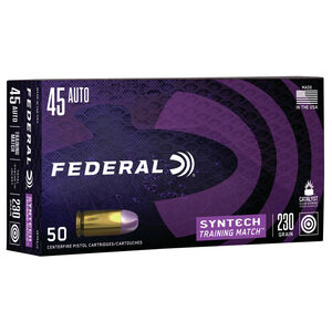 Federal Syntech Training Match .45 Auto Ammunition 230 Grain TSJFN 890 fps