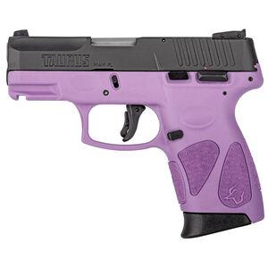 "Taurus PT111 G2C Semi Auto Pistol 9mm Luger 3.2"" Barrel 12 Rounds 3 Dot Sights Matte Black Slide/Polymer Frame Light Purple Finish"