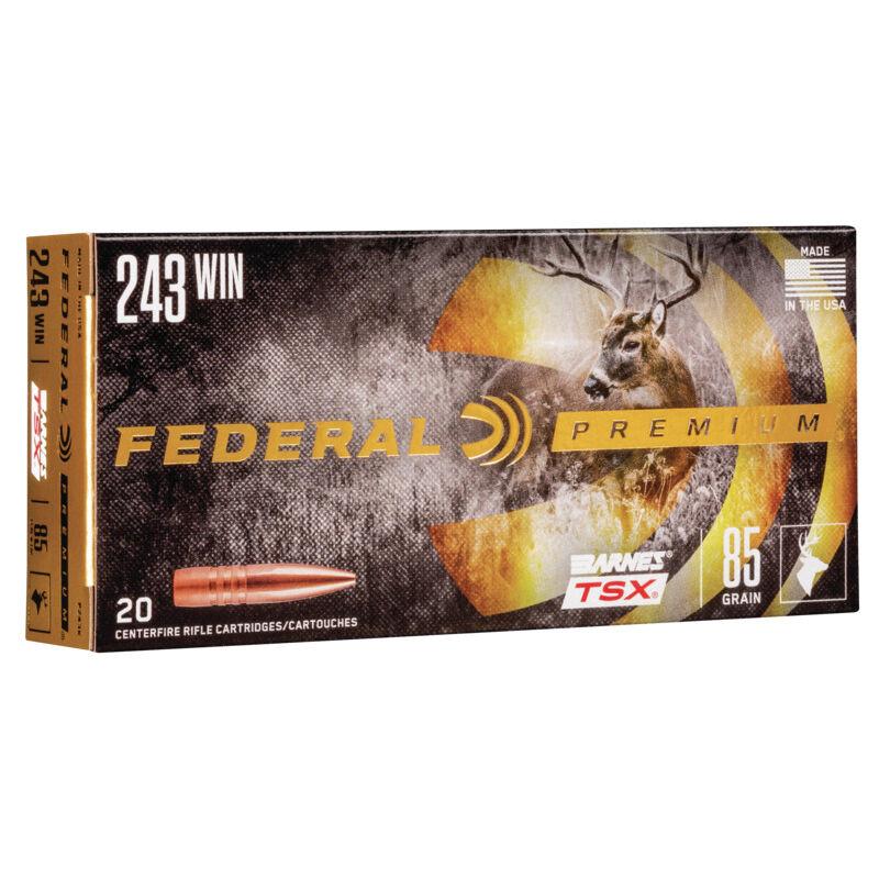 Ammo  243 Win Federal V-Shok Lead Free 85 Grain Barnes TSX 3200 fps 20  Round Box P243K