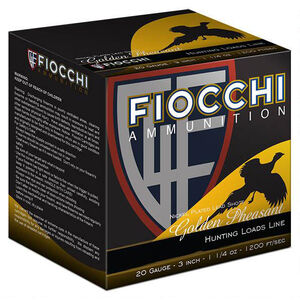 "Fiocchi Golden Pheasant 20 Gauge Ammunition 250 Rounds 3"" #6 Shot 1-1/4oz Nickel Plated Lead 1200fps"