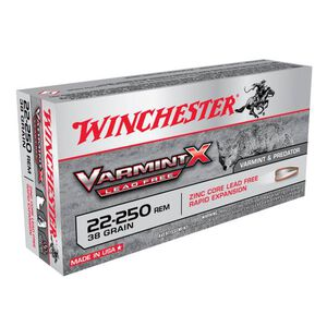 Winchester Varmint X .22-250 Remington Ammunition 20 Rounds 38 Grain Polymer Tip Hollow Point Lead Free 4090fps