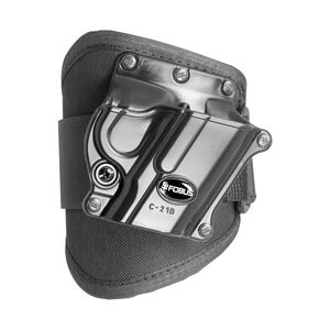 Fobus Ankle Holster 1911 Style Pistol Without Rail Right Hand Draw Polymer Shell/Cordura Pad with Velcro Strap Matte Black Finish