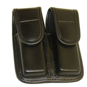 Bianchi Model 7902 AccuMold Elite Double Magazine Pouch Fits GLOCK 17/19 Hidden Snap Synthetic Leather Plain Black