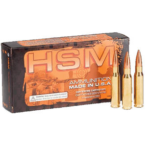 HSM 7.62x51 20 Rounds Match Ammunition 175 Grain Hollow Point Boat Tail MatchKing T Coat Bullet 1060fps