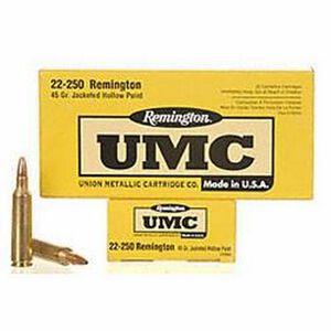 Ammo .22-250 Remington UMC Jacketed Hollow Point 45 Grain 4000 fps 20 Round Box