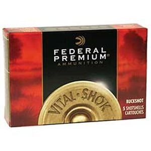 "Federal 12 Gauge Ammunition 5 Rounds 2.75"" 00 Buck Vital-Shok Copper Plated 12 Pellets"