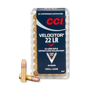 CCI Velocitor .22LR Ammunition 40 Grain Plated HP 1435 fps