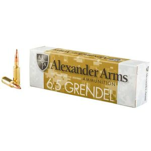 Alexander Arms 6.5 Grendel Ammunition 20 Rounds Lapua Scenar OTM 123 Grains A-G123LSBOX
