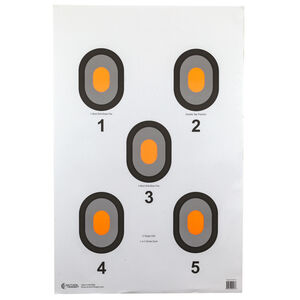 "Action Target 5 Bull's-Eye Target with Orange Centers 23"" x 35"" Paper Black and Orange 100 Pack"