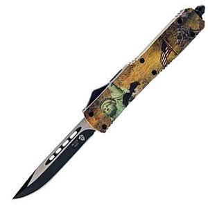 "Templar Knife Slim Liberty OTF Knife 3.5"" Black SS Plain Drop Point Blade OTF Push Button Opening Pocket Clip Glass Breaker Aluminum Handle"